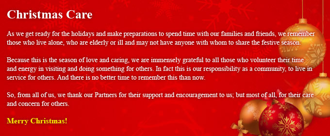 From all of us in the Partnership Office
